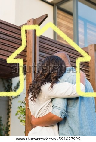 Digital composition of home outline wth couple hugging in background