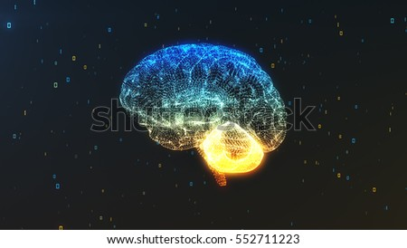 digital computer brain 3d...