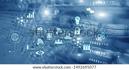 Digital concept internet of things information and telecommunication technology. Double exposure icons and server room background #1492695077