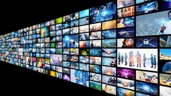 Digital contents concept. Social networking service. Streaming video. communication network.