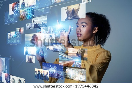 Digital contents concept. Social networking service. Streaming video. NFT. Non-fungible token.