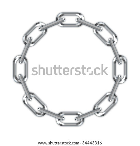 Digital creation of a chain in a ring on a white background.