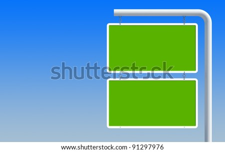 Digital creation of a green blank road sign with blue background
