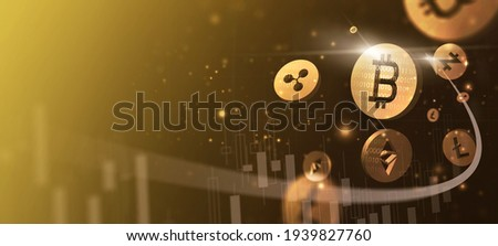 Digital cryptocurrency block chain market Bitcoin Ethereum token coin symbol graph rising trend concept, online network digital money currency technology computer encryption, banner gold background