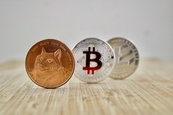 Digital currency physical brass dogecoin silver bitcoin and Litecoin