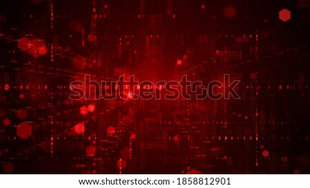 Digital cyberspace with particles and Digital data network connections concept on red background Foto stock ©