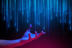 digital data ai technology hologram with light and hand of human with glow in sci-fi futuristic concept, touch the science atom molecule, system link social network