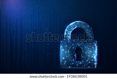 Digital data protect. Concept secure. Lock, Digitally Generated Image, Padlock, Technology. Security Illustrates cyber data or information privacy idea. blue color abstract hi-tech digital background
