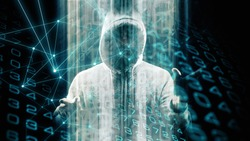 Digital data random numbers deep machine learning, spy man new software abstract background