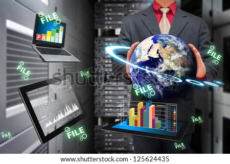 Digital devices and data report in data center room : Elements of this image furnished by NASA