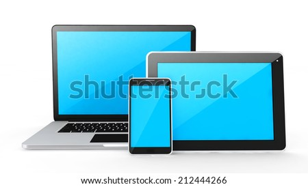 Digital devices-labtop, tablet and smart phone on white background.