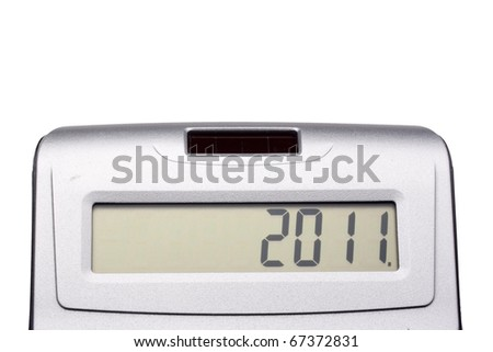 Digital display a simple calculator for mathematical calculations with the inscription 2011.