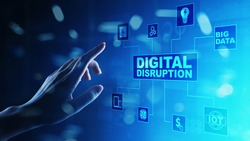 Digital Disruption. Disruptive business ideas. IOT internet of things, network, smart city and machines, big data, analytics, cloud, analytics, web-scale IT, Artificial intelligence, AI.