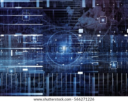 Digital Domain series. Backdrop of  fractal geometry structures, lines and numbers to complement your design on the subject of data processing, virtual reality, computers, science and math #566271226