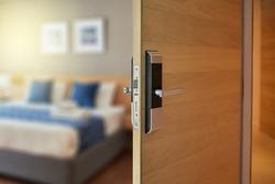 Digital door lock for house, hotel or apartment door. Electronic door handle for smart life style. Digital Door handle or Electronics knob  for access to room security system.