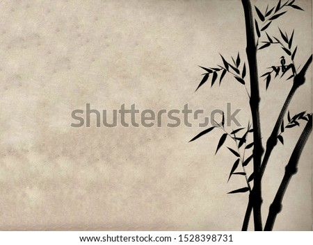 Digital drawing Chinese brush painting style illustration of bamboo shoots and leaves and a bird on right side of picture with space for text haiku poem or note on left side  Zdjęcia stock ©