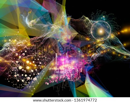 Digital Dreams series. Visually pleasing composition of technology background with virtual visualization components  for topics on science, education, computers and modern technology