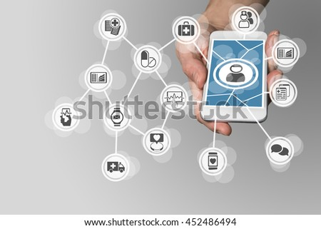 Digital e-healthcare in order to connect patients to medical services via smartphone