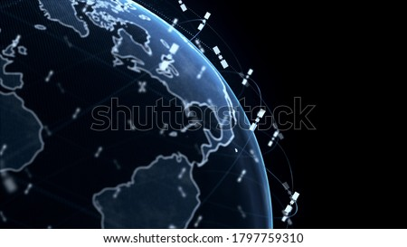 Digital earth data globe - abstract 3D rendering satellites starlink video network connection the world. satellites create oneweb or skybridge surrounding planet conveying complexity big data flood