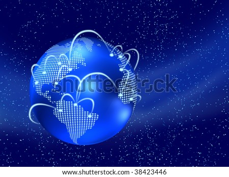 Digital earth globe with internet web, in dark space starfield background