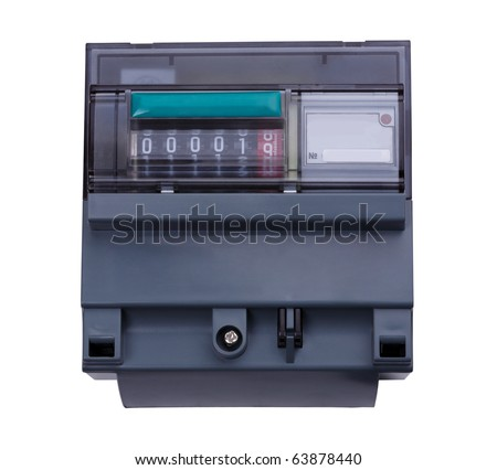 Digital Electric Meter. Isolated on white background