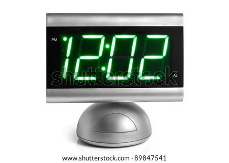 Digital electronic clock on a white background