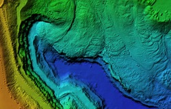 Digital elevation model. GIS product made after proccesing aerial pictures taken from a drone. It shows map of an excavation site with steep rock walls