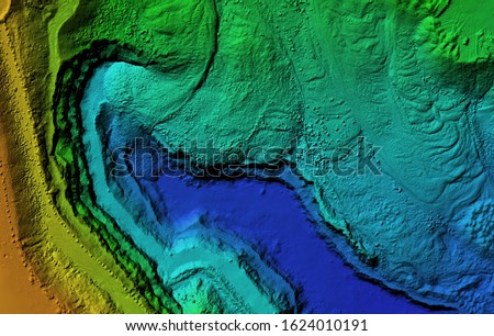 Digital elevation model. GIS product made after proccesing aerial pictures taken from a drone. It shows map of an excavation site with steep rock walls Stok fotoğraf ©