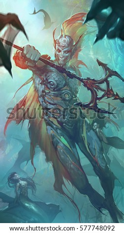 Digital fantasy illustration of Pisces zodiac sign holding magic trident protecting mermaids of the sea