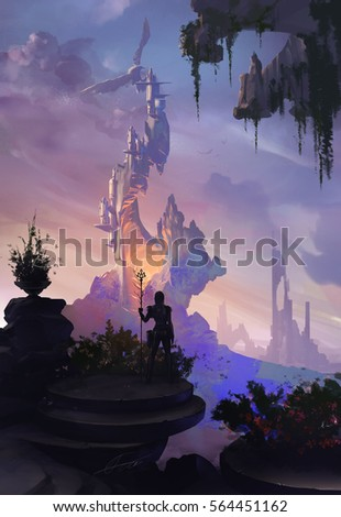 Digital fantasy illustration with fantastic castle attacked by a giant bird and a guardian woman watching the scene