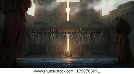 Digital fantasy painting of a group of worshipers at a sun temple conducting a ritual - 3D Illustration Stock fotó ©