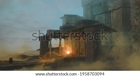 Digital fantasy painting of a magic ritual in a desert temple by a cult of mysterious monks - 3d illustration Stock photo ©