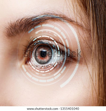 Digital female eye in process of scanning. New technologies and futuristic concept #1355401040