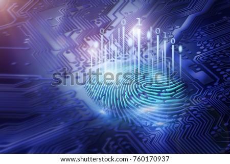 digital fingerprint on motherboard backgrounds, digital security and access concepts