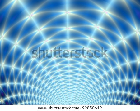 Digital fractal design featuring white lights radiating on a blue background.