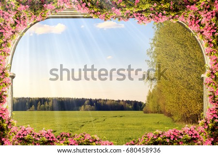 Digital fresco: antique archway and nature background