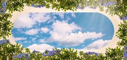 Digital fresco: ceiling with blue sky and colorful flowers. Old stone wall. Blue sky with white clouds.