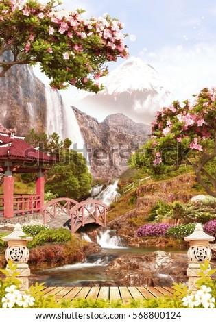 Digital fresco. Japan garden