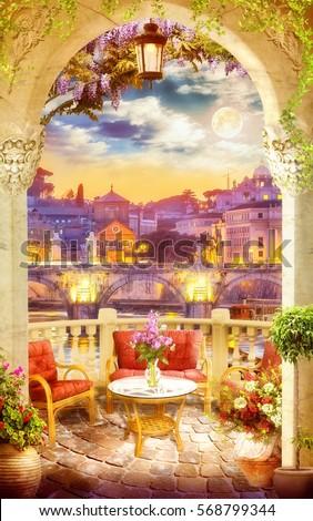 Digital fresco. Night view on  italian terrace