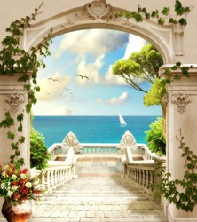 Digital fresco.  Sea view