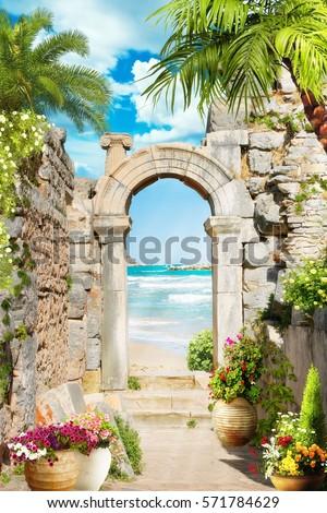 Digital fresco. Tropical arch