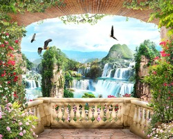 Digital fresco,View from the balcony of the mountain waterfalls