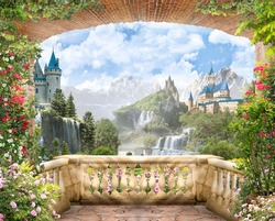 Digital fresco,View from the balcony of the mountain waterfalls with castles