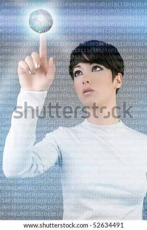 digital futuristic businesswoman magic light global planet finger touch [Photo Illustration]