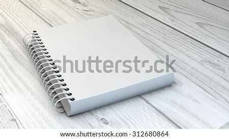 digital generated blank notebook over wooden background