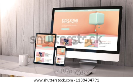 Digital generated devices on desktop, responsive creativity graphic design on screen. All screen graphics are made up. 3d rendering. Stock photo ©