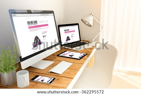 Digital generated devices online shop on an workplace with laptop, tablet and smartphone. All screen graphics are made up. 3d illustration. - Shutterstock ID 362295572