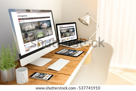 Digital generated devices over a wooden table with blog magazine responsive concept. All screen graphics are made up.  3d rendering - Shutterstock ID 537741910