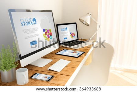 Digital generated devices over a wooden table with cloud storage. All screen graphics are made up. 3d illustration. - Shutterstock ID 364933688