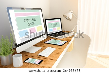 Digital generated devices over a wooden table with made up responsive design website. All screen graphics are made up. 3d illustration. - Shutterstock ID 364933673